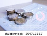 stack coin money with account... | Shutterstock . vector #604711982