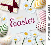 happy easter background with... | Shutterstock .eps vector #604712666