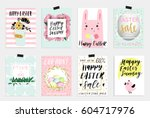 set of spring and easter gift... | Shutterstock .eps vector #604717976