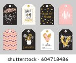 collection of eight gold... | Shutterstock .eps vector #604718486