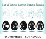 set of icons family the easter... | Shutterstock .eps vector #604719302