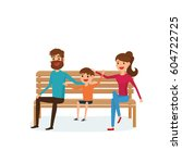 happy family sitting on a bench ... | Shutterstock .eps vector #604722725