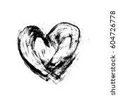 grunge hand drawn ink heart.... | Shutterstock .eps vector #604726778