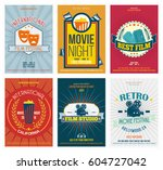 cinema posters in retro style.... | Shutterstock .eps vector #604727042