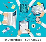 medical team doctors at desktop.... | Shutterstock .eps vector #604735196