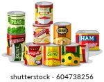 Different types of canned food illustration | Shutterstock vector #604738256