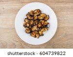 fried eggplant with tomato... | Shutterstock . vector #604739822
