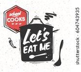 black sketched large saucepan... | Shutterstock .eps vector #604743935