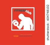 man hold dumbbell.fitness... | Shutterstock .eps vector #604748102
