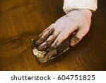 close up of a carpenter wearing ... | Shutterstock . vector #604751825