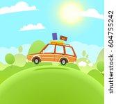 summer travel illustration.... | Shutterstock . vector #604755242