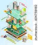 multistory residential building ... | Shutterstock .eps vector #604758482