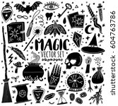 vector magic icons. hand drawn  ... | Shutterstock .eps vector #604763786