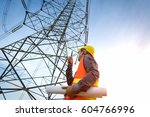 construction worker checking... | Shutterstock . vector #604766996