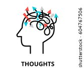 human thoughts icon  flat thin... | Shutterstock .eps vector #604767506