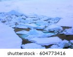 Small photo of Right aft - trail astern of ship, channel has done in ice icebreaker on way to North pole, slough ice, brash ice; glagons