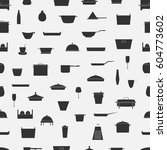 kitchenware seamless pattern.... | Shutterstock .eps vector #604773602