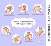 hand washing steps infographics | Shutterstock .eps vector #604793582