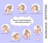 hand washing steps infographics | Shutterstock .eps vector #604793582
