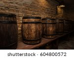 homemade barrels in the wine... | Shutterstock . vector #604800572