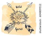 vector illustration with tribal ... | Shutterstock .eps vector #604809512