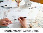 interior designer working on... | Shutterstock . vector #604810406