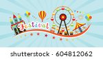 festival typeface with objects... | Shutterstock .eps vector #604812062