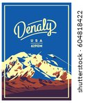 denali in alaska range  north... | Shutterstock .eps vector #604818422