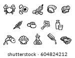set of food safety allergy... | Shutterstock .eps vector #604824212