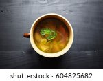 home made vegetable soup.... | Shutterstock . vector #604825682