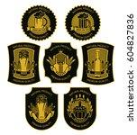 set of vector beer labels for a ... | Shutterstock .eps vector #604827836