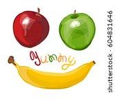 vector illustration  fruit in... | Shutterstock .eps vector #604831646