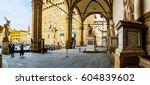 Small photo of Loggia dei Lanzi, also called Loggia della Signoria, is a building on corner of Piazza della Signoria in Florence, Italy, adjoining Uffizi Gallery. It consists of wide arches open to street.