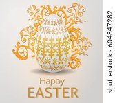 happy easter  greeting card  | Shutterstock .eps vector #604847282