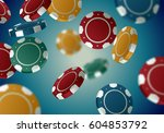 color casino chips falling in... | Shutterstock .eps vector #604853792