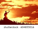 warrior with sword panorama... | Shutterstock . vector #604855016