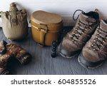military equipment on white... | Shutterstock . vector #604855526