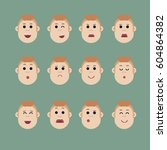 set of male facial emotions ... | Shutterstock .eps vector #604864382