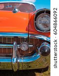 front luxury retro car close up | Shutterstock . vector #604866092