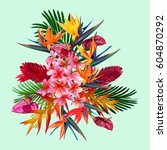 elegant floral vector... | Shutterstock .eps vector #604870292