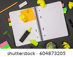 open notepad with office...   Shutterstock . vector #604873205