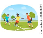 the people playing football in...   Shutterstock .eps vector #604878725