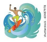 surfing guy   Shutterstock .eps vector #60487978
