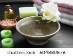 relaxing spa setting with water ...   Shutterstock . vector #604880876