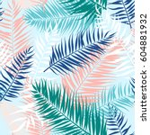 seamless pattern of tropical... | Shutterstock .eps vector #604881932