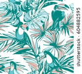 seamless pattern of ink hand... | Shutterstock .eps vector #604882595