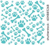 Stock vector background with dog paw print and bone vector illustration 604885268