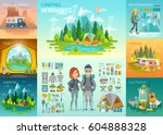 camping infographic ... | Shutterstock .eps vector #604888328