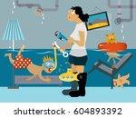 kid snorkeling in a flooded... | Shutterstock .eps vector #604893392