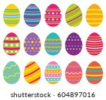 colorful isolated easter eggs ... | Shutterstock .eps vector #604897016
